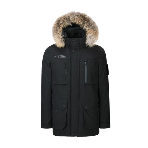 Men's Duck Down Jacket With Hood For Winter - CAMEL