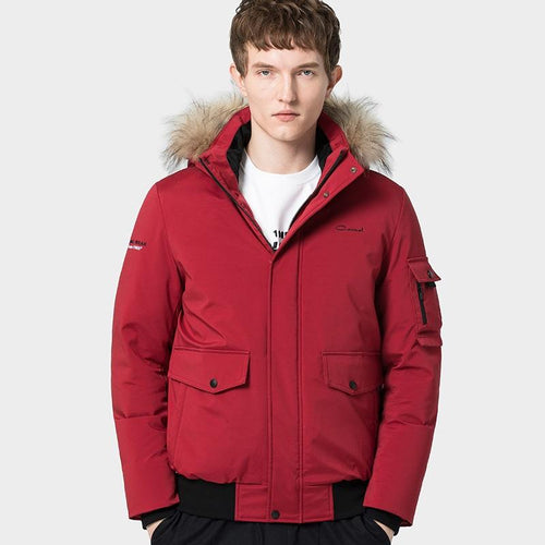 Men's Fashion Down Jacket with Removable Hood - CAMEL