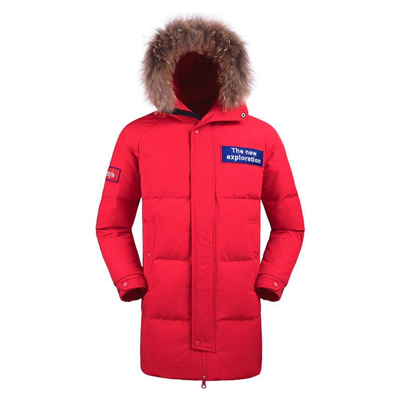 Men's Fashion Long Warm Down Jacket with Hood in Red - CAMEL