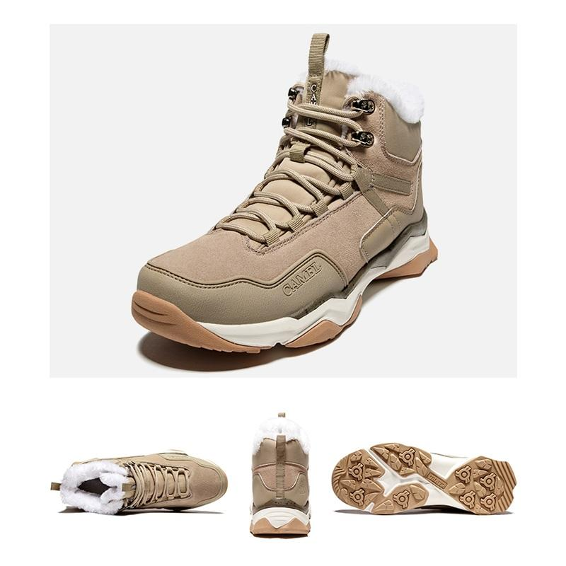 Men's Fleece Lined Anti-skid Hiking Ankle Boots for Winter - CAMEL