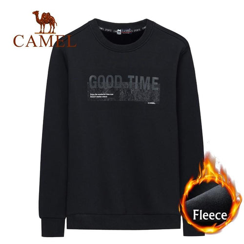 Men's Fleece-Lined Good Time Letter Printing Sweatshirt - CAMEL