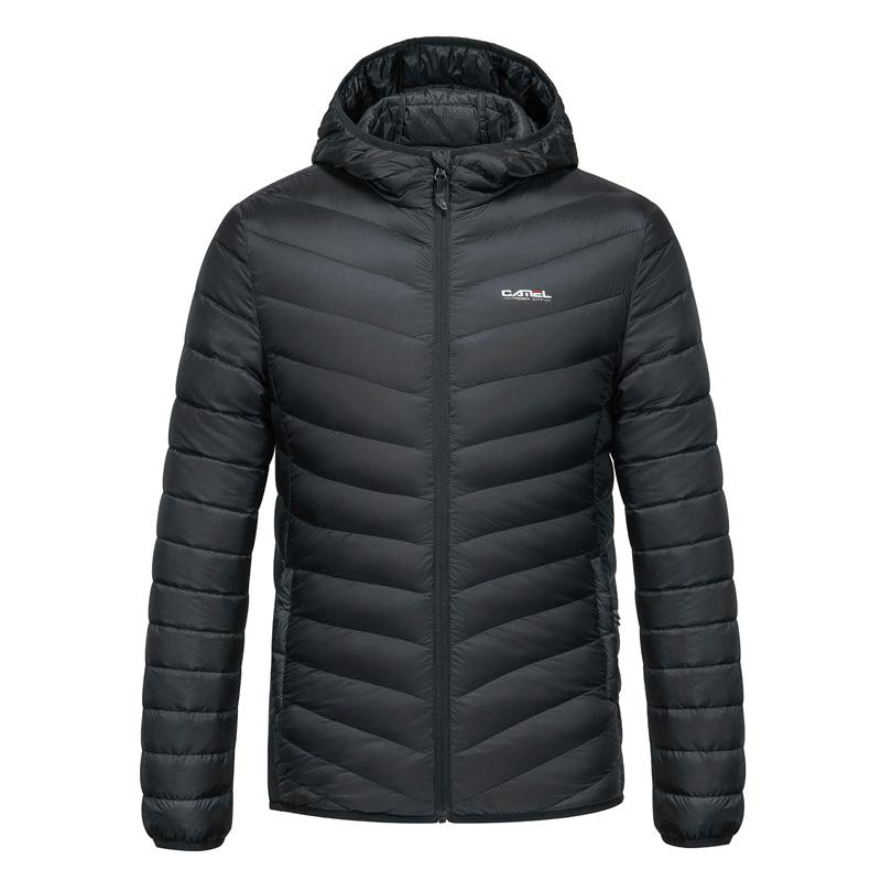 Men's Lightweight Down Jacket with Hood - CAMEL