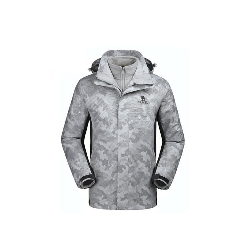 Men's Waterproof Camouflage 3 In 1 Jacket - CAMEL