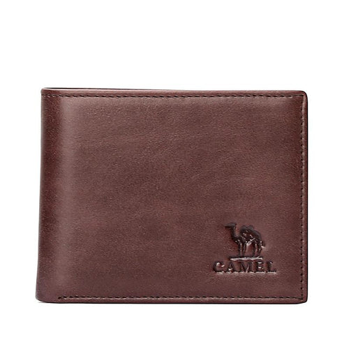 Men's Retro Leather Wallet in Brown - CAMEL