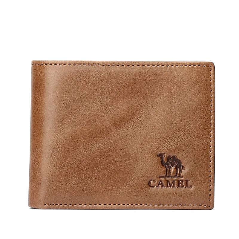 Men's Retro Leather Wallet in Dark Orange - CAMEL