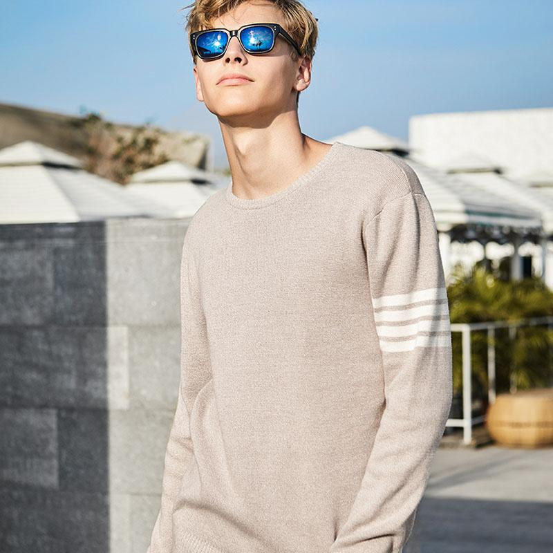 Men's Simple Cotton Striped Sweater - CAMEL