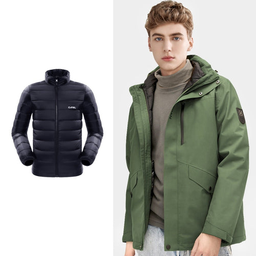Men's Windproof 3-in-1 Down Interchange Jacket - CAMEL