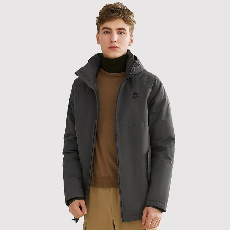 Men's Winter Windproof Fleece Lined Parka - CAMEL