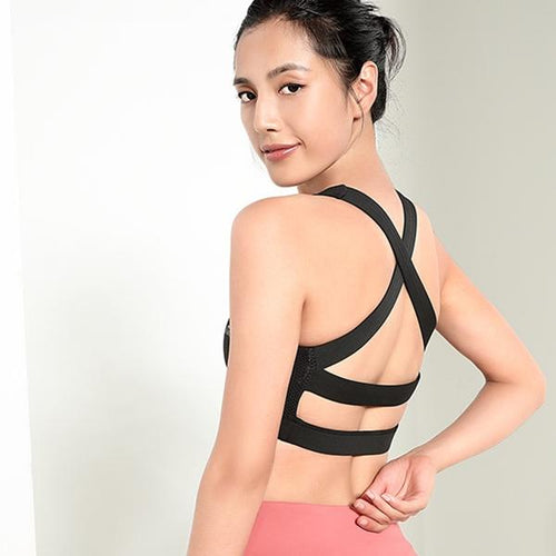 Women's Criss Cross Back Sports Top Bra - CAMEL