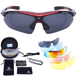 Sports Sunglasses Polarized UV400 Protection with 5 Interchangeable Lenses - CAMEL