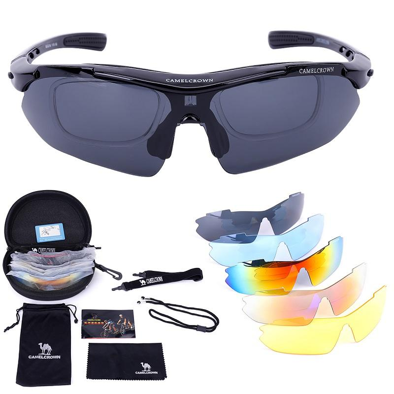 Sports Sunglasses Polarized UV400 Protection with 5 Interchangeable Lenses