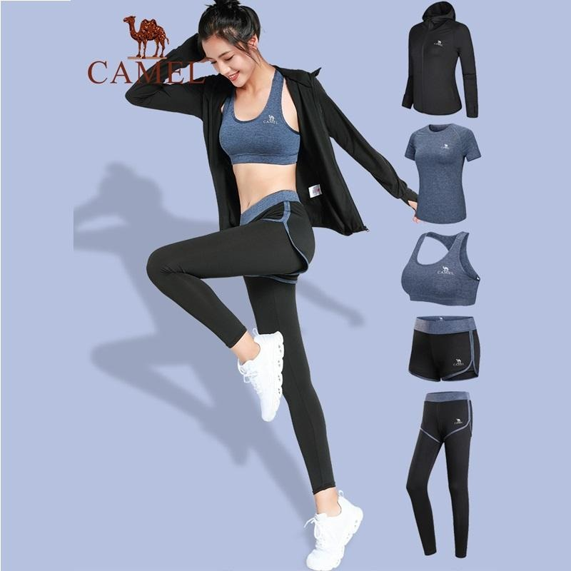 Women's Slim Fit Sports Yoga Fashion Set 5 Pieces For Workout - CAMEL CROWN