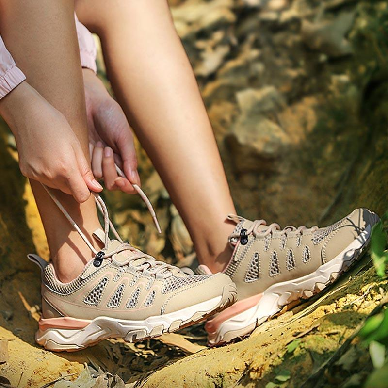 Women's Breathable Hiking Shoes Durable Non-Slip Trekking Shoes - CAMEL