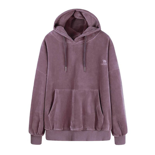 Women's Fashion Velvet Hoodie Casual Sweatshirt - CAMEL