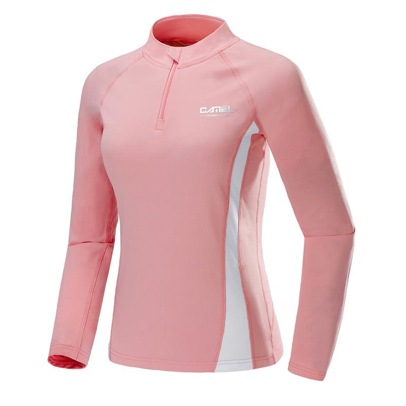 Women's Sports Quick-dry Breathable Yoga Sweatshirt Long Sleeves - CAMEL