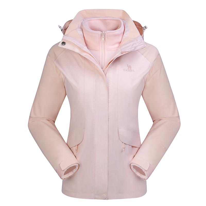 Women's 3-In-1 Water Repellent Ski Jacket Parka - CAMEL