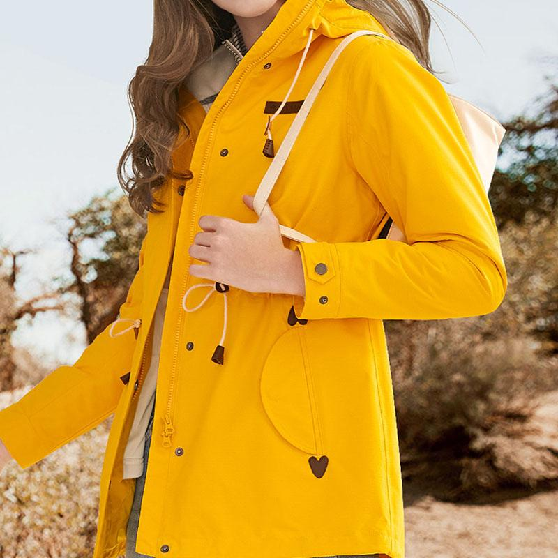 Women's 3 in 1 Bright Color Long Jacket - CAMEL