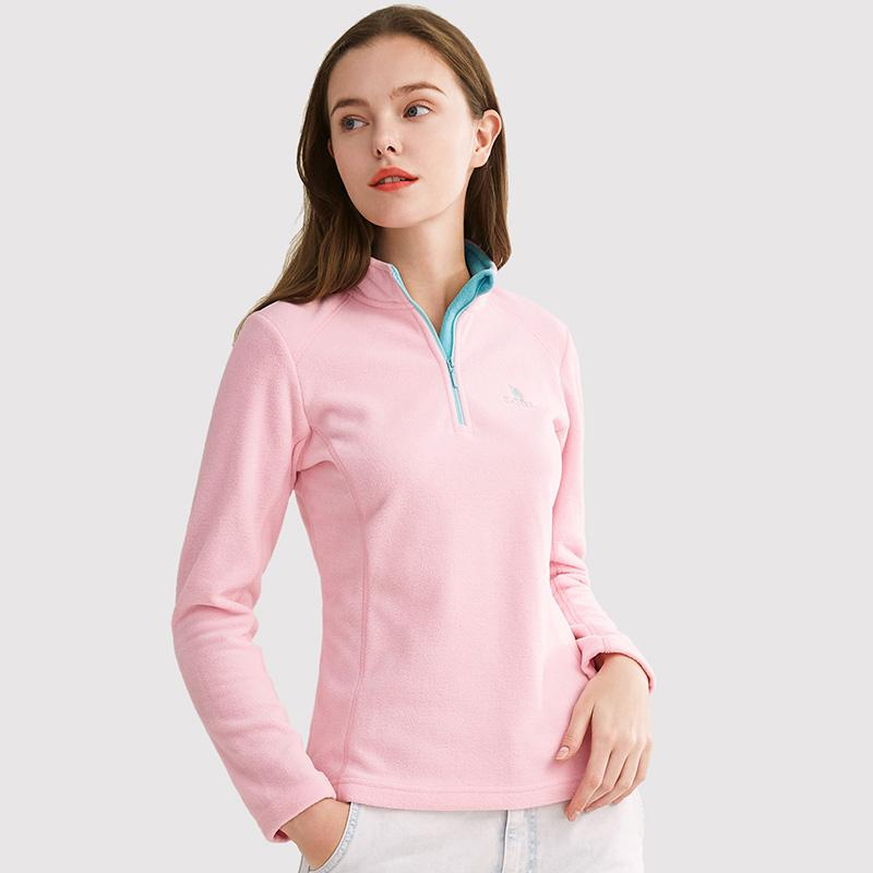 Women's Half-Zip Antistatic Fleece Jacket - CAMEL