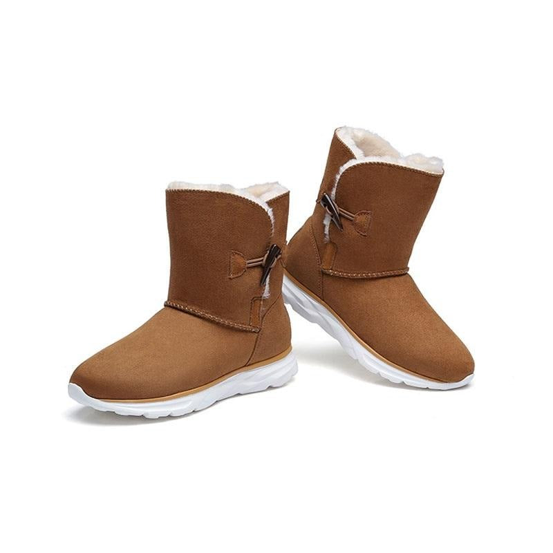 Women's Lightweight Fur Lined Snow Boots - CAMEL
