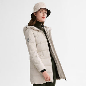 Women's Long Duck Down Jacket - CAMEL