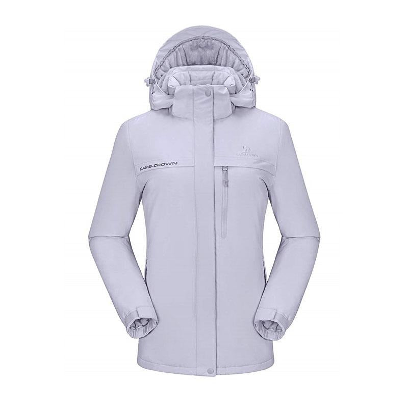 Women's Waterproof Ski Jacket Fleece Parka - CAMEL