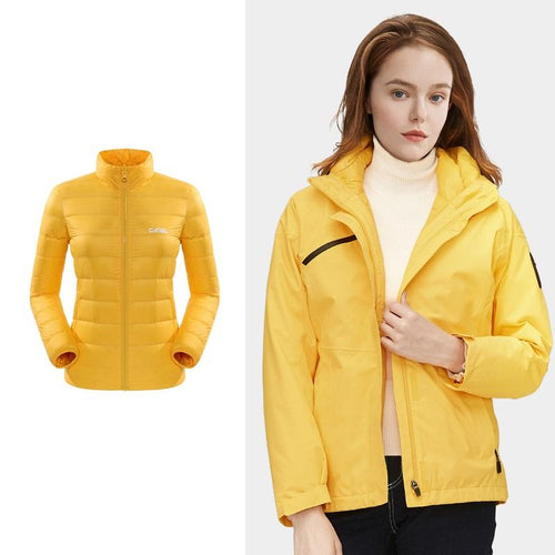 Women's Windproof 3-in-1 Down Interchange Jacket - CAMEL