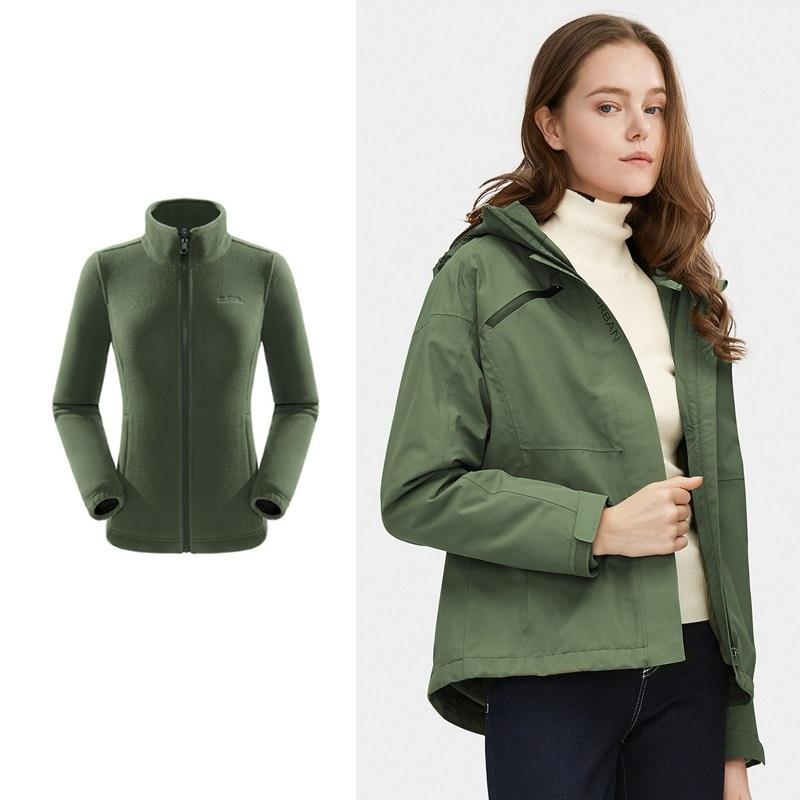 Women's Windproof Fashion 3-in-1 Jacket with Hood - CAMEL