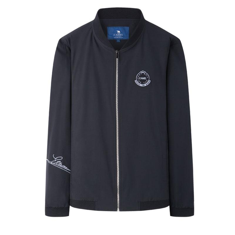 Men Full Zip Bomber Jacket - CAMEL
