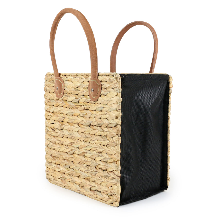 COLLAPSIBLE TOTE BAG/SUEDE HANDLES