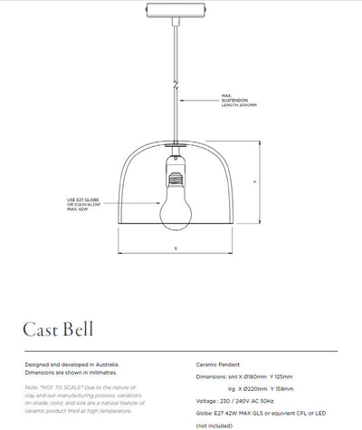 LARGE BELL LIGHT/BONE