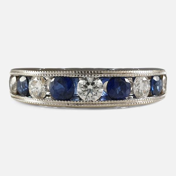 18ct White Gold Diamond and Sapphire Half Eternity Ring viewed from the front