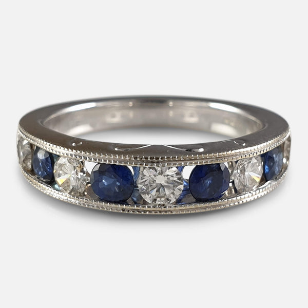 18ct White Gold Diamond and Sapphire Half Eternity Ring viewed from above