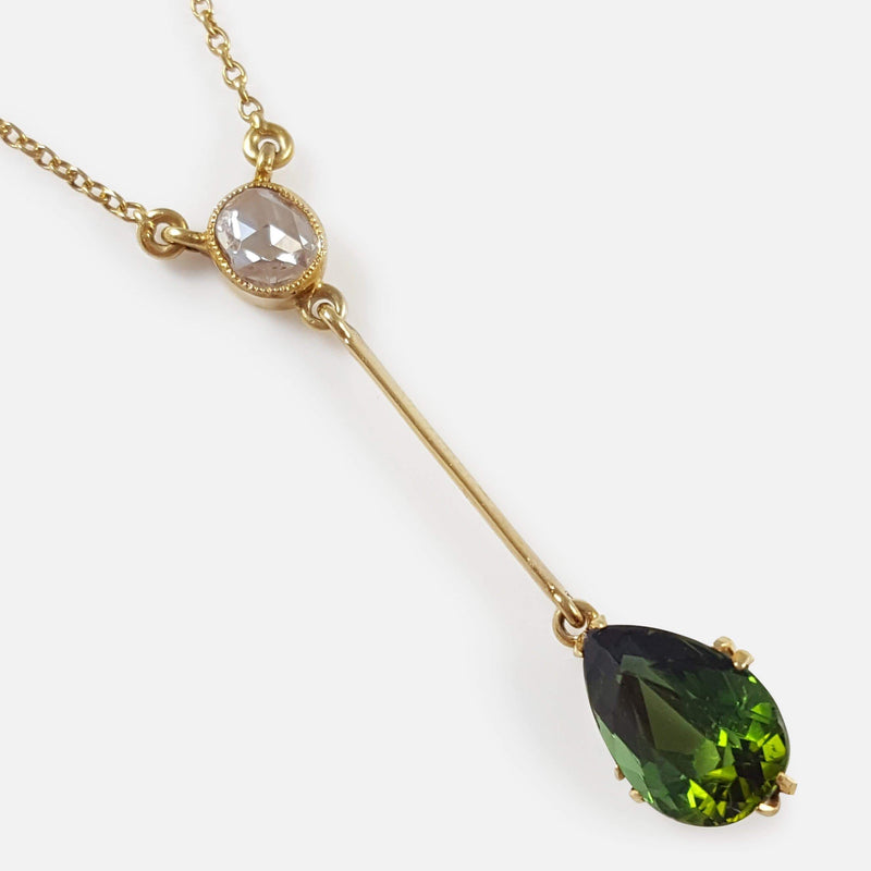 15ct Gold Tourmaline and Diamond Pendant Drop Lavalier Necklace focused in