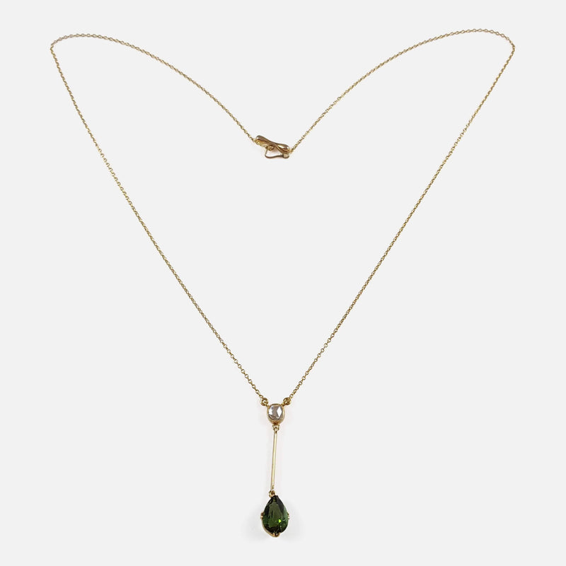 15ct Gold Tourmaline and Diamond Pendant Drop Lavalier Necklace viewed from the front