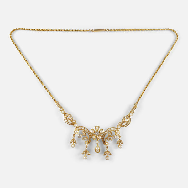 15ct Yellow Gold Seed Pearl & Diamond Necklace, Circa 1905
