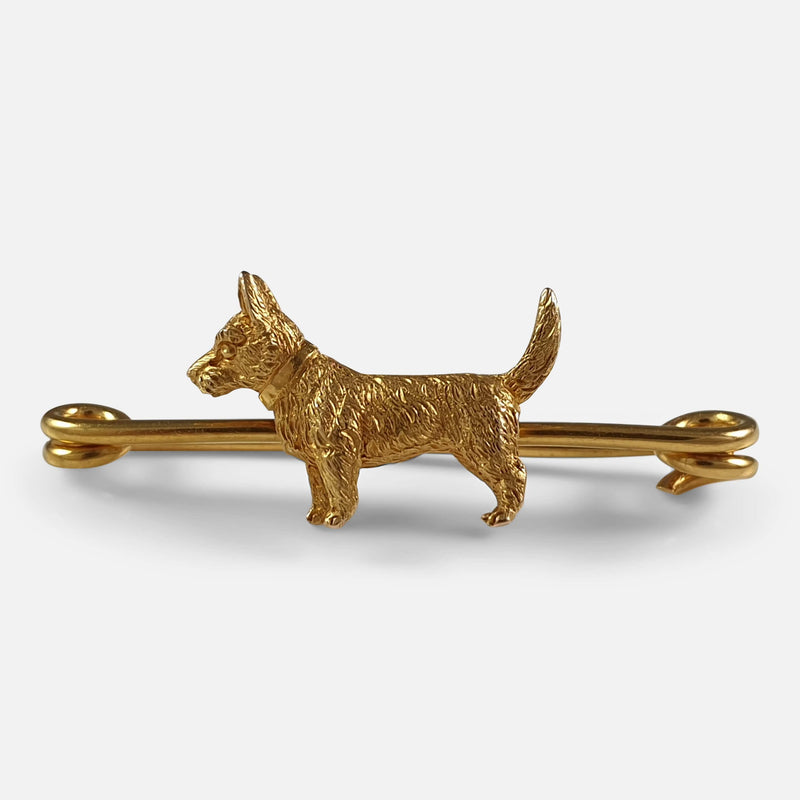 1920s 15ct Gold Terrier Brooch viewed from the front