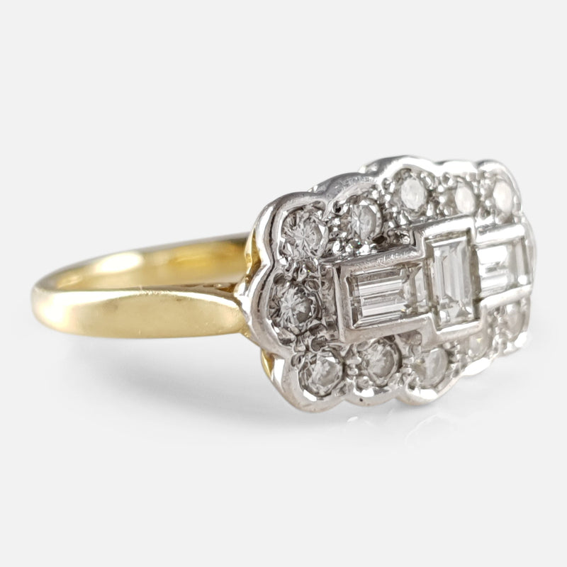 18ct Gold 0.90ct Diamond Cluster Plaque Ring viewed from the left