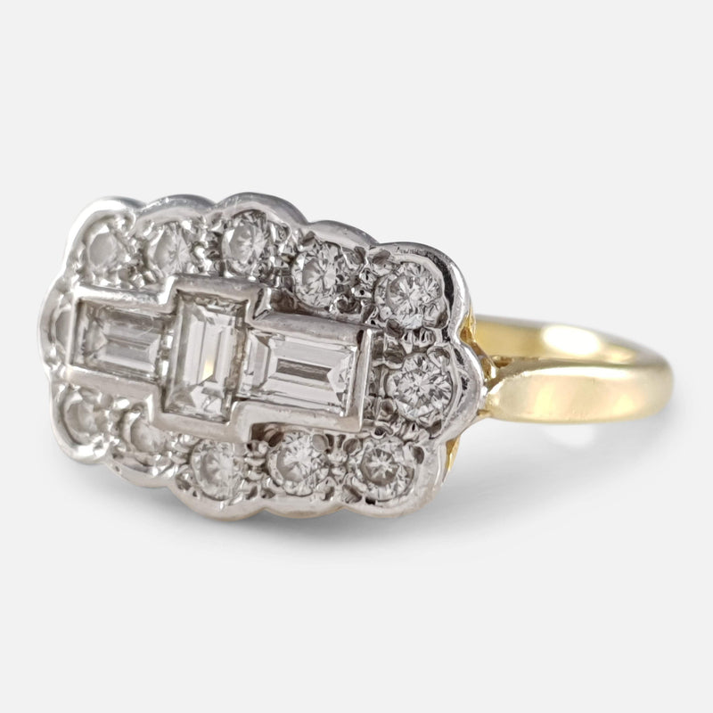 18ct Gold 0.90ct Diamond Cluster Plaque Ring viewed from the right
