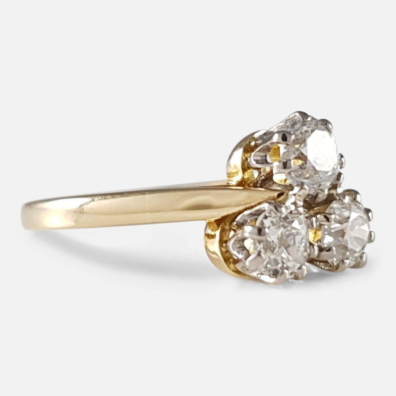18ct Gold 0.98ct Diamond Trilogy Cluster Ring C1920-1930 - Argentum Antiques & Collectables