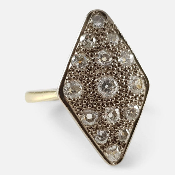18ct Gold 1.0cts Diamond Navette Cluster Ring Circa 1940s - Argentum Antiques & Collectables