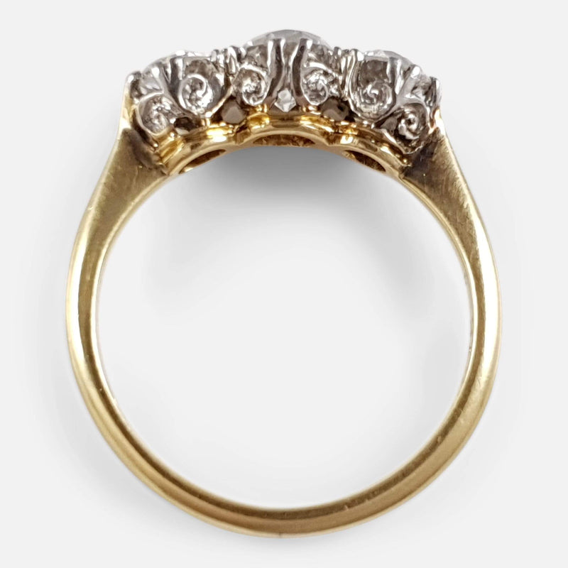 18ct Gold Diamond 3-Stone Trilogy Ring, circa 1920s - Argentum Antiques & Collectables
