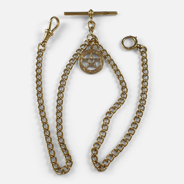 18ct Gold Albert Watch Chain Necklace & 15ct Star of David Pendant Fob viewed from the front