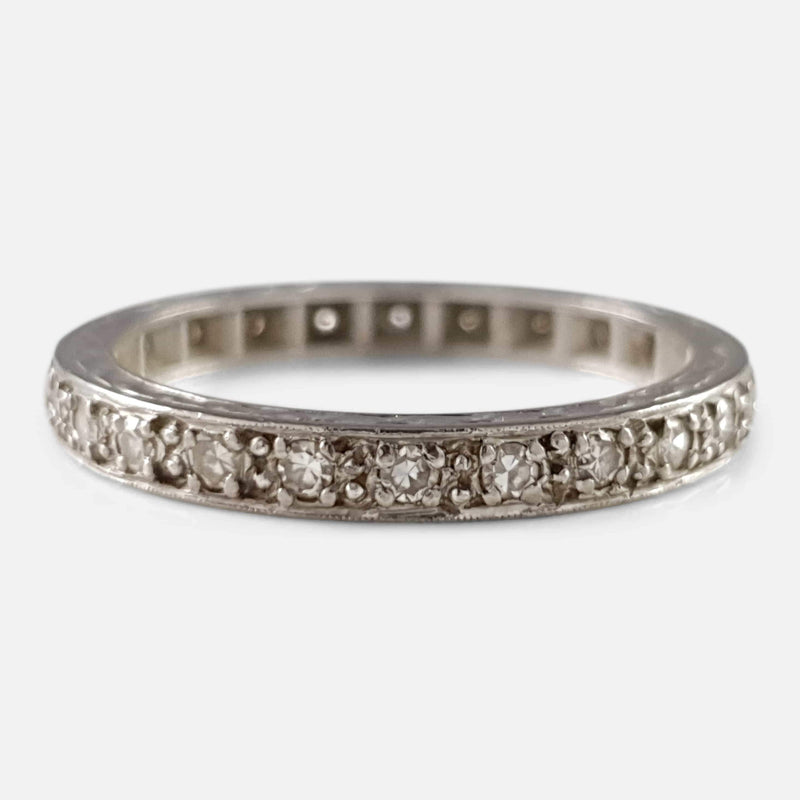 18ct White Gold Engraved Diamond Full Eternity Ring - Argentum Antiques & Collectables