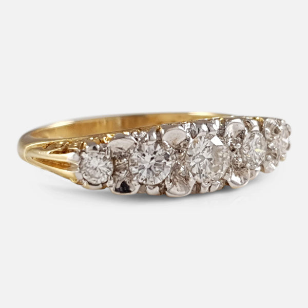 18ct Yellow and White Gold 5 Stone Diamond Ring - Argentum Antiques & Collectables