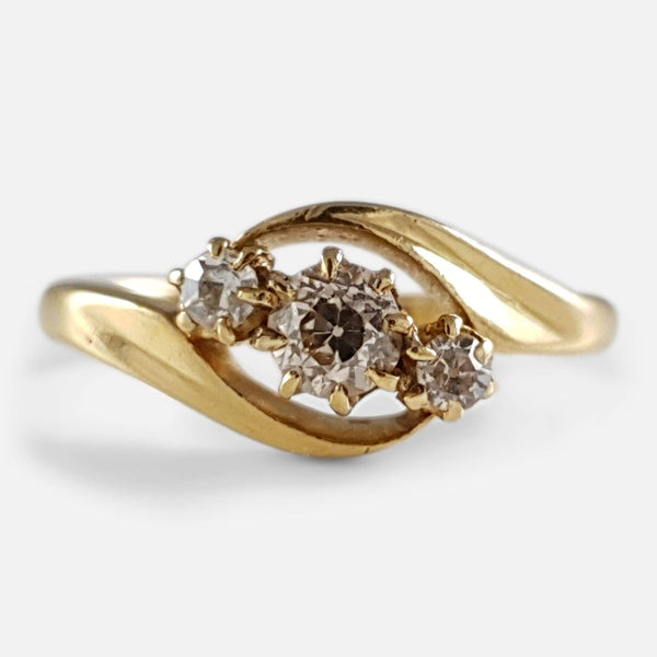 18ct Gold Diamond Crossover Ring Birmingham 1911 - Argentum Antiques & Collectables
