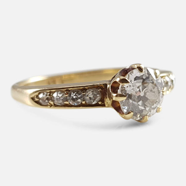 1910s 18ct gold diamond solitaire ring viewed from the left