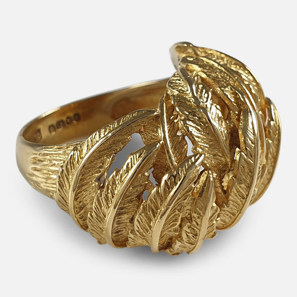 18ct Yellow Gold Fern Frond Motif Cocktail Dress Ring, London, 1967 viewed from the left
