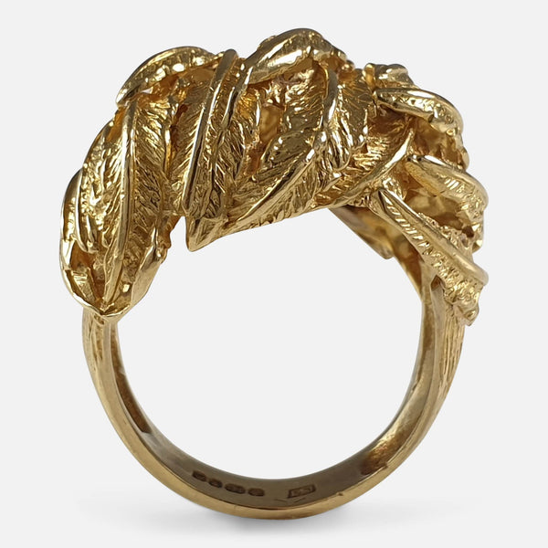 18ct Yellow Gold Fern Frond Motif Cocktail Dress Ring, London, 1967 a view from above