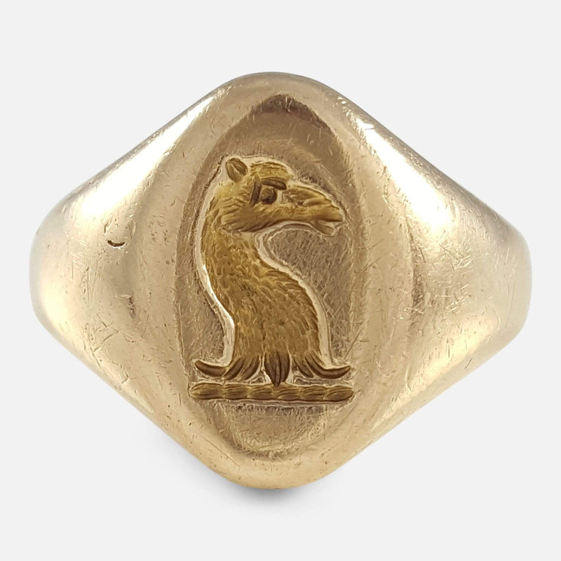 18ct Yellow Gold Intaglio Signet Seal Ring viewed from the front