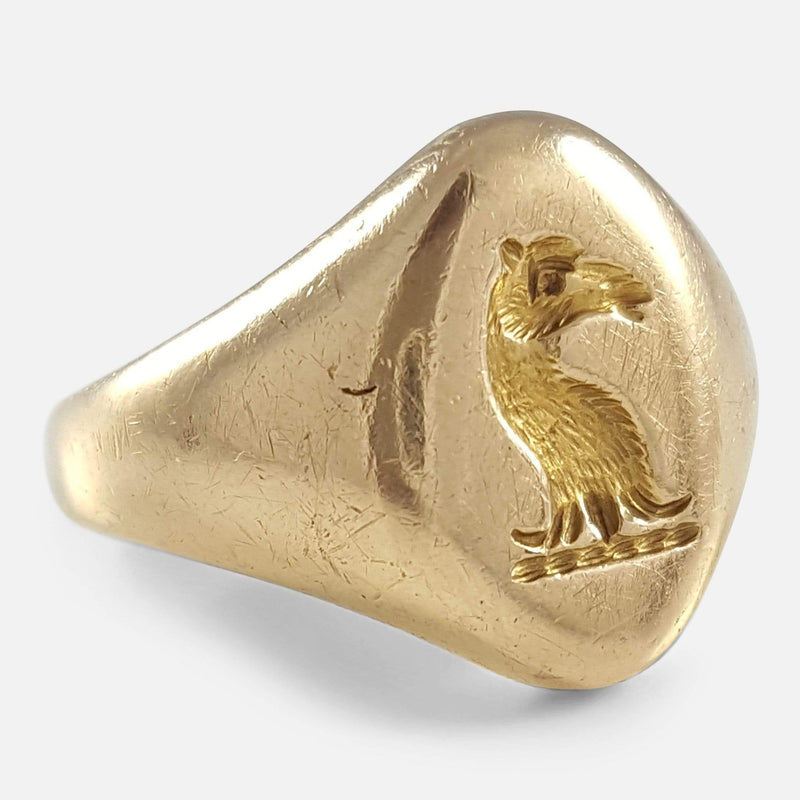 18ct Yellow Gold Intaglio Signet Seal Ring viewed from the left side